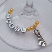 Dress Personalised Wine Glass Charm
